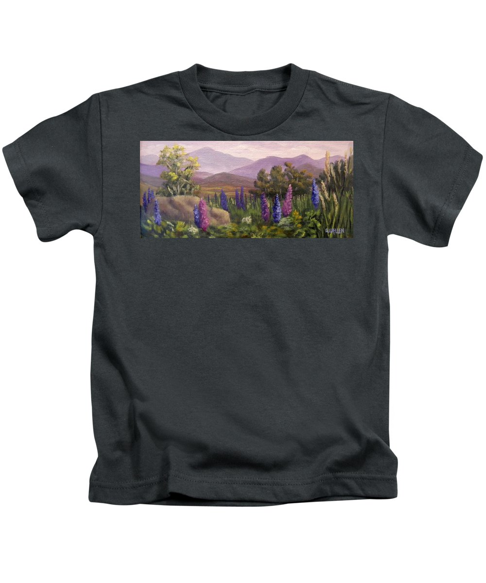 Lupines Kids T-Shirt featuring the painting Morning Lupines by Sharon E Allen