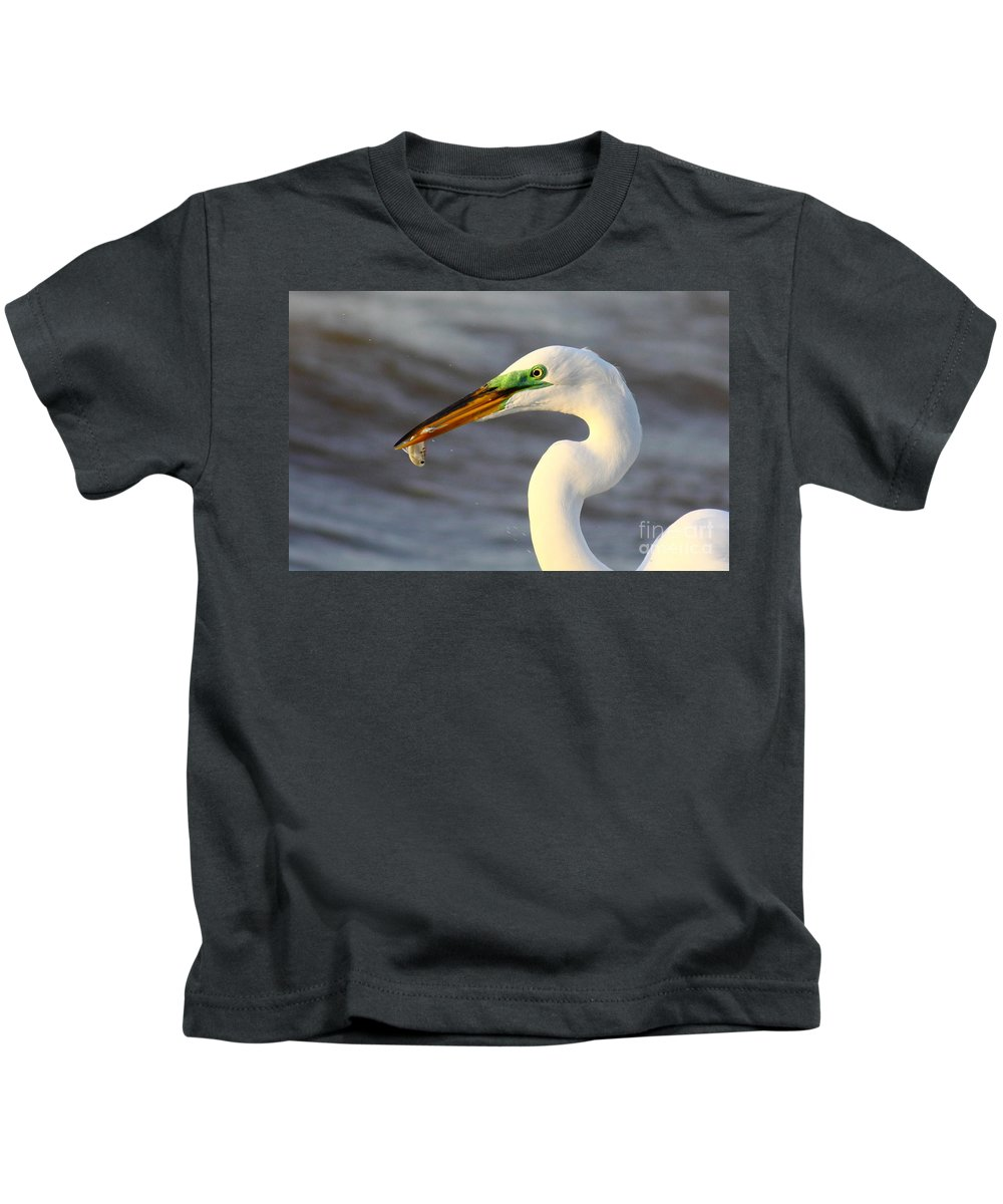 Animal Kids T-Shirt featuring the photograph Morning's Catch by Robert Frederick