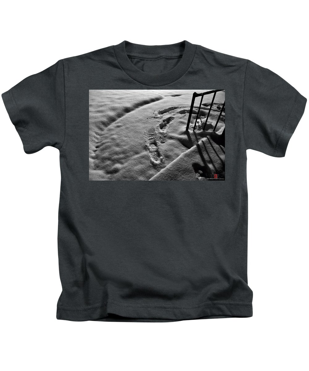 Michael Frank Jr Kids T-Shirt featuring the photograph Mornings First Footprints by Michael Frank Jr
