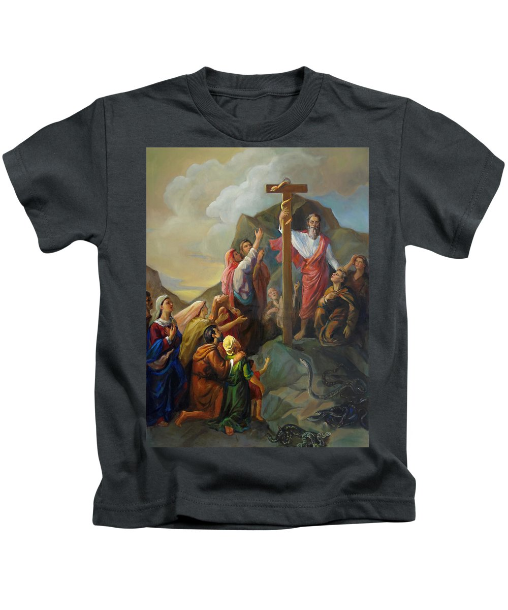 Moses Kids T-Shirt featuring the painting Moses And The Brazen Serpent - Biblical Stories by Svitozar Nenyuk