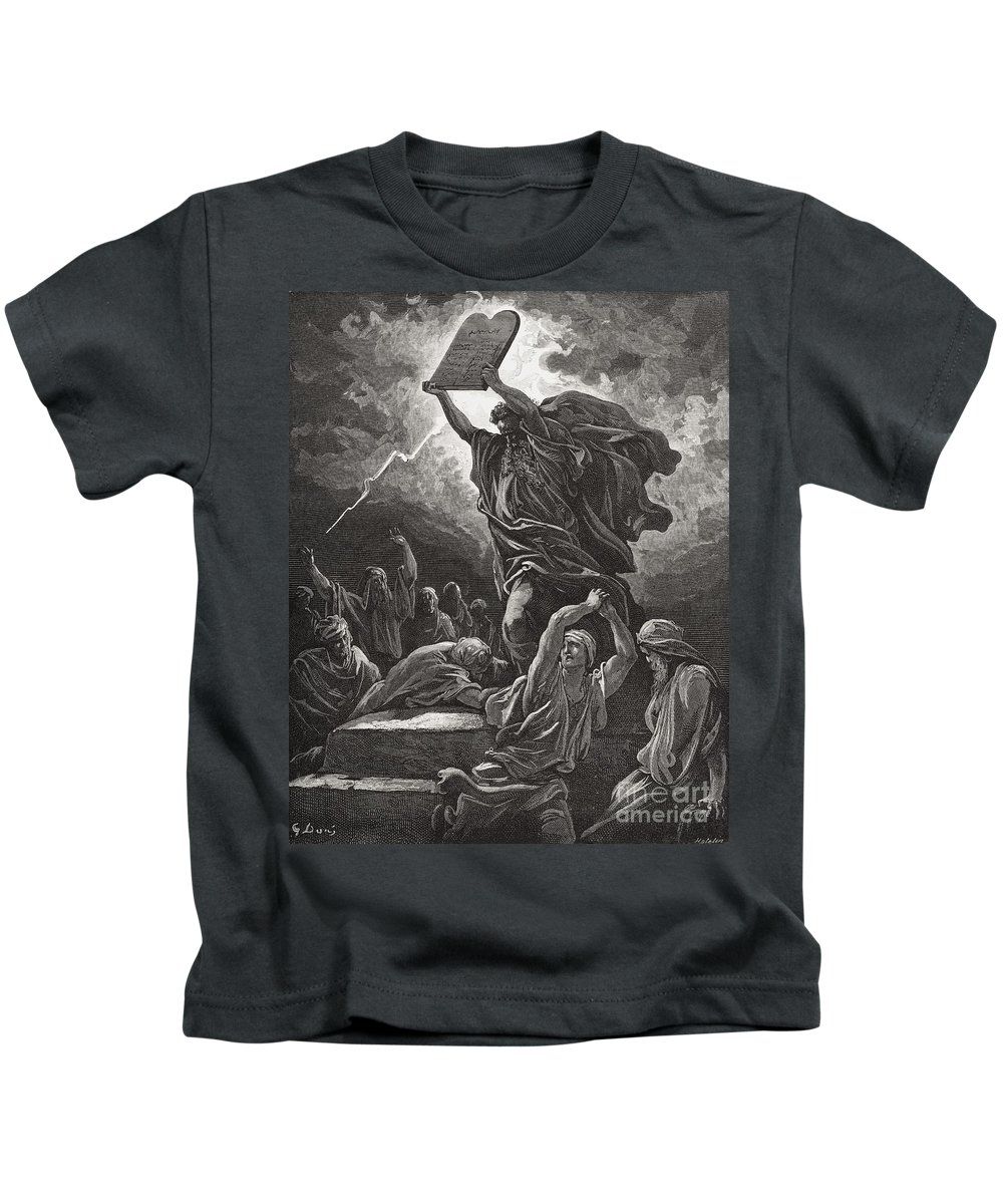 Tables Kids T-Shirt featuring the painting Moses Breaking The Tablets Of The Law by Gustave Dore