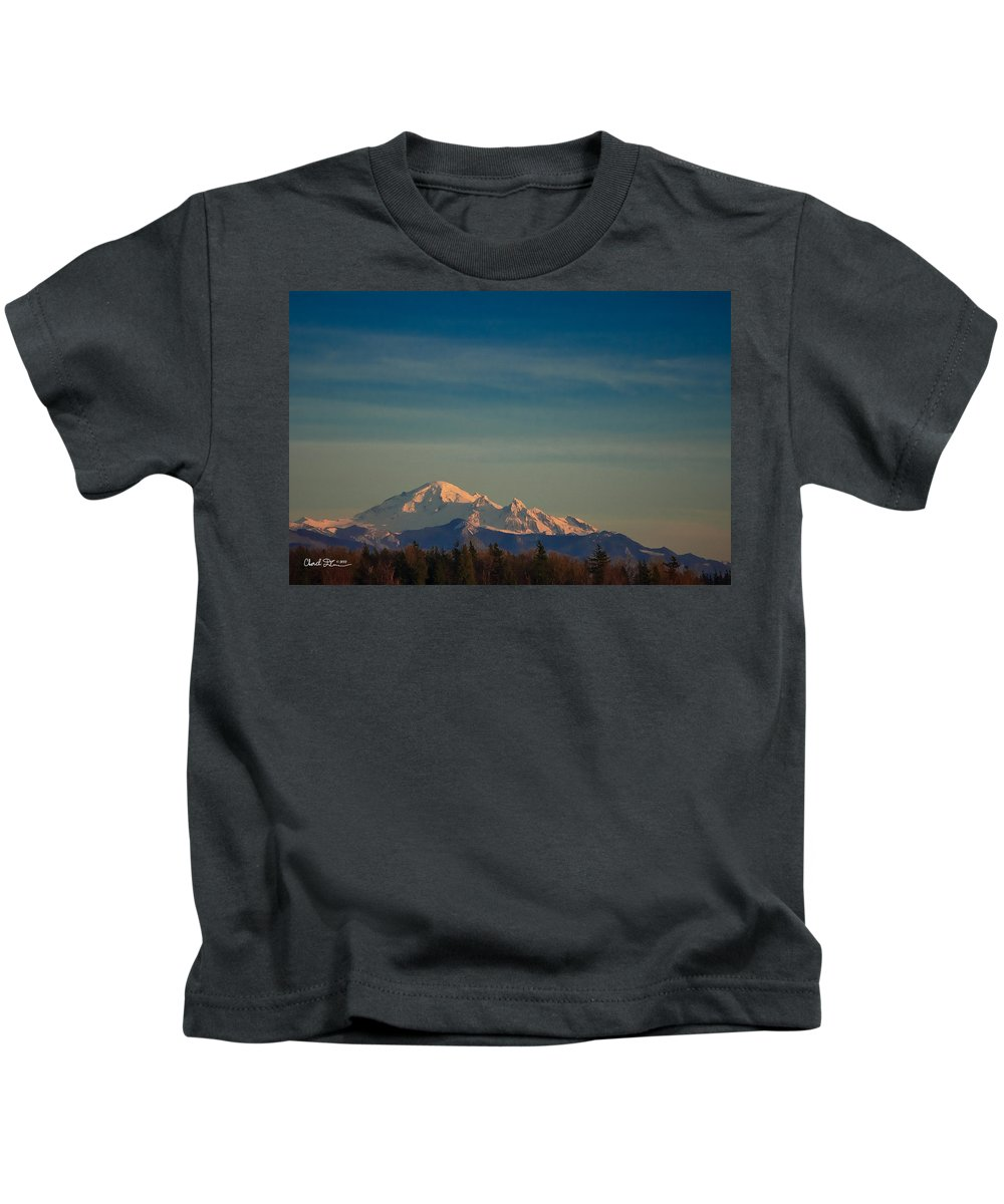 Mountain Kids T-Shirt featuring the photograph Mount Baker Sunset by Charlie Duncan