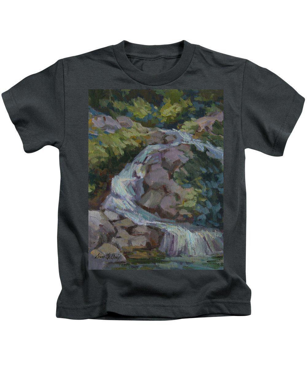 Waterfall Kids T-Shirt featuring the painting Mountain Waterfall by Diane McClary