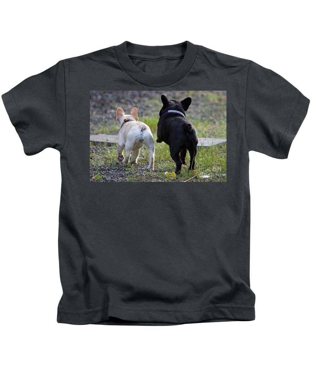 Frenchie Kids T-Shirt featuring the photograph Ms. Quiggly And Buddy French Bulldogs by Tap On Photo