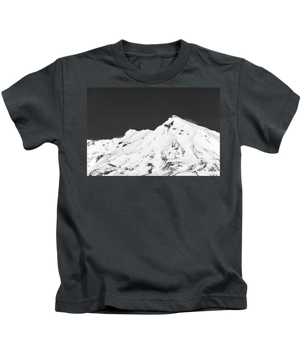 Mount Ruapehu Tongariro National Park New Zealand Mountain Mountains Volcano Volcanos Landscape Landscapes Snow Snowscape Snowscapes Black And White Kids T-Shirt featuring the photograph Mt. Ruapehu 2 by Bob Phillips