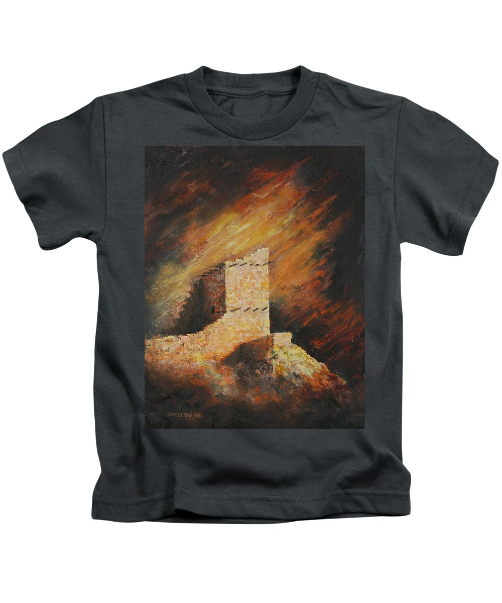 Anasazi Kids T-Shirt featuring the painting Mummy Cave Ruins 2 by Jerry McElroy