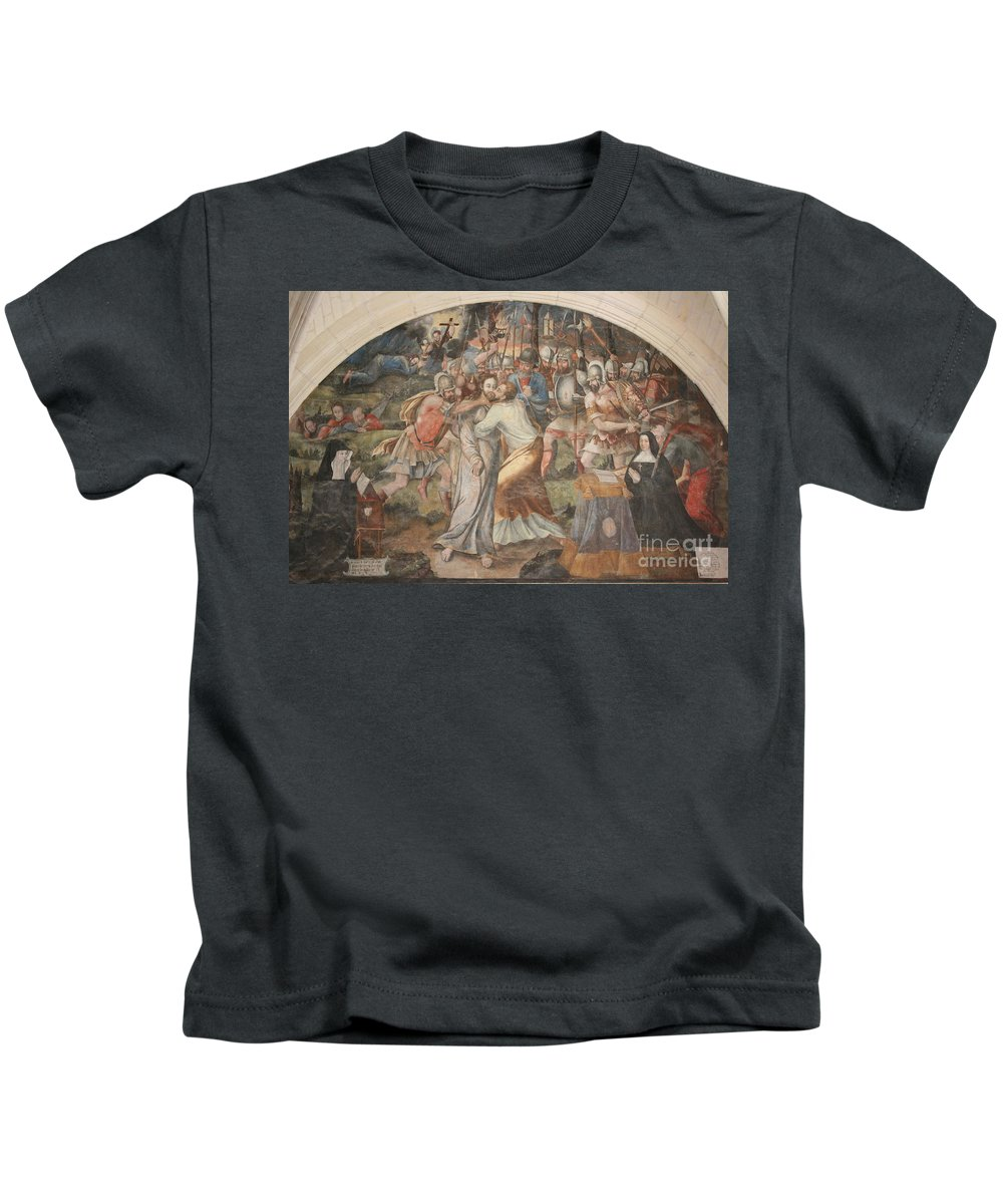 Wall Kids T-Shirt featuring the photograph Mural Painting Abbey Fontevraud by Christiane Schulze Art And Photography