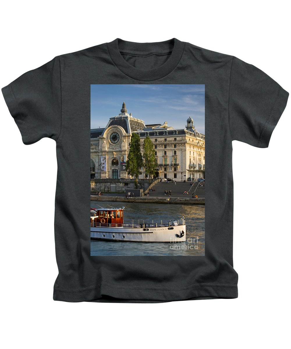 Boat Kids T-Shirt featuring the photograph Musee D'orsay Along River Seine by Brian Jannsen
