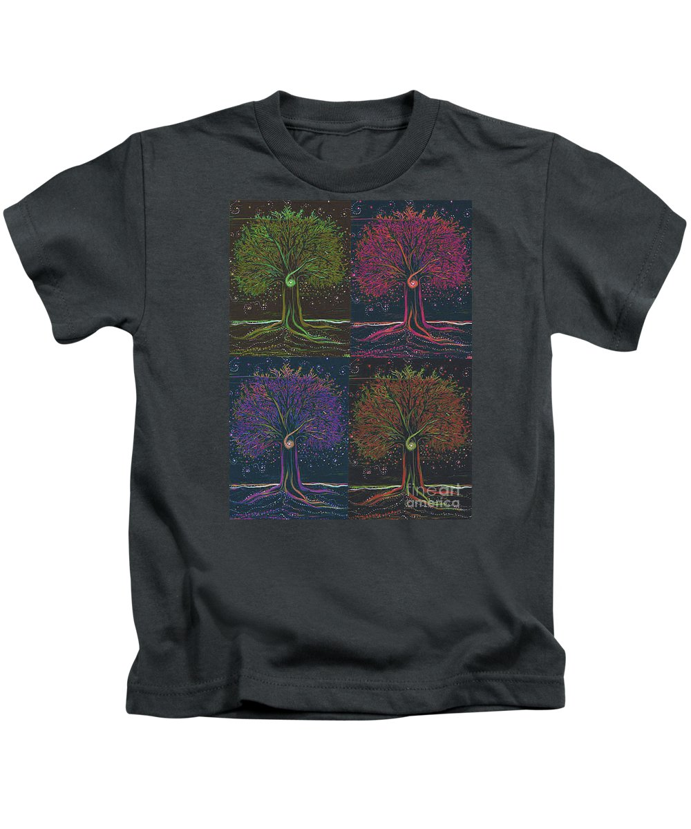 First Star Kids T-Shirt featuring the painting Mystic Spiral Tree X 4 By Jrr by First Star Art