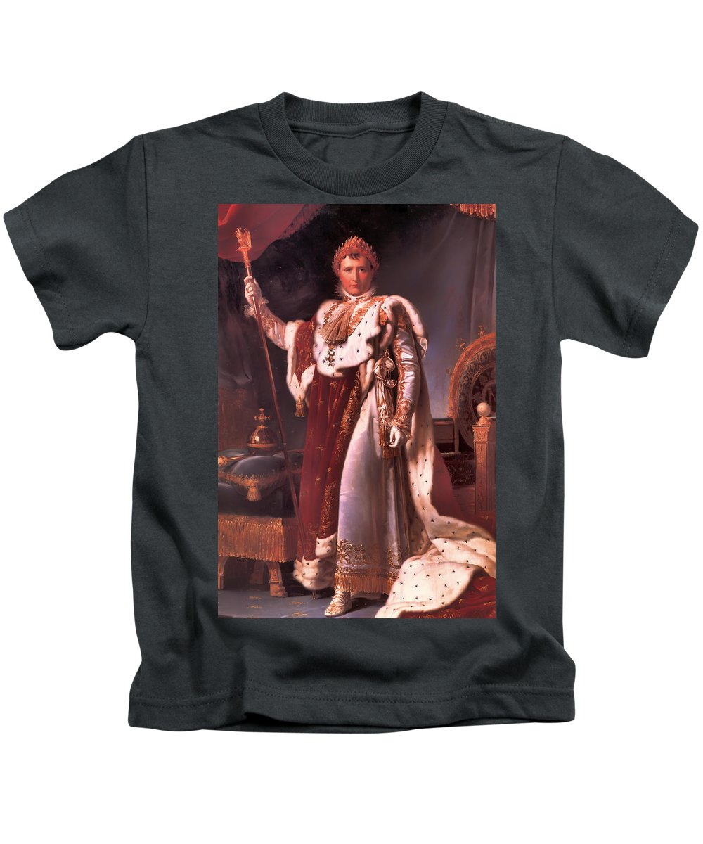 Napoleon Bonaparte Kids T-Shirt featuring the painting Napoleon In His Coronation Robes by Mountain Dreams