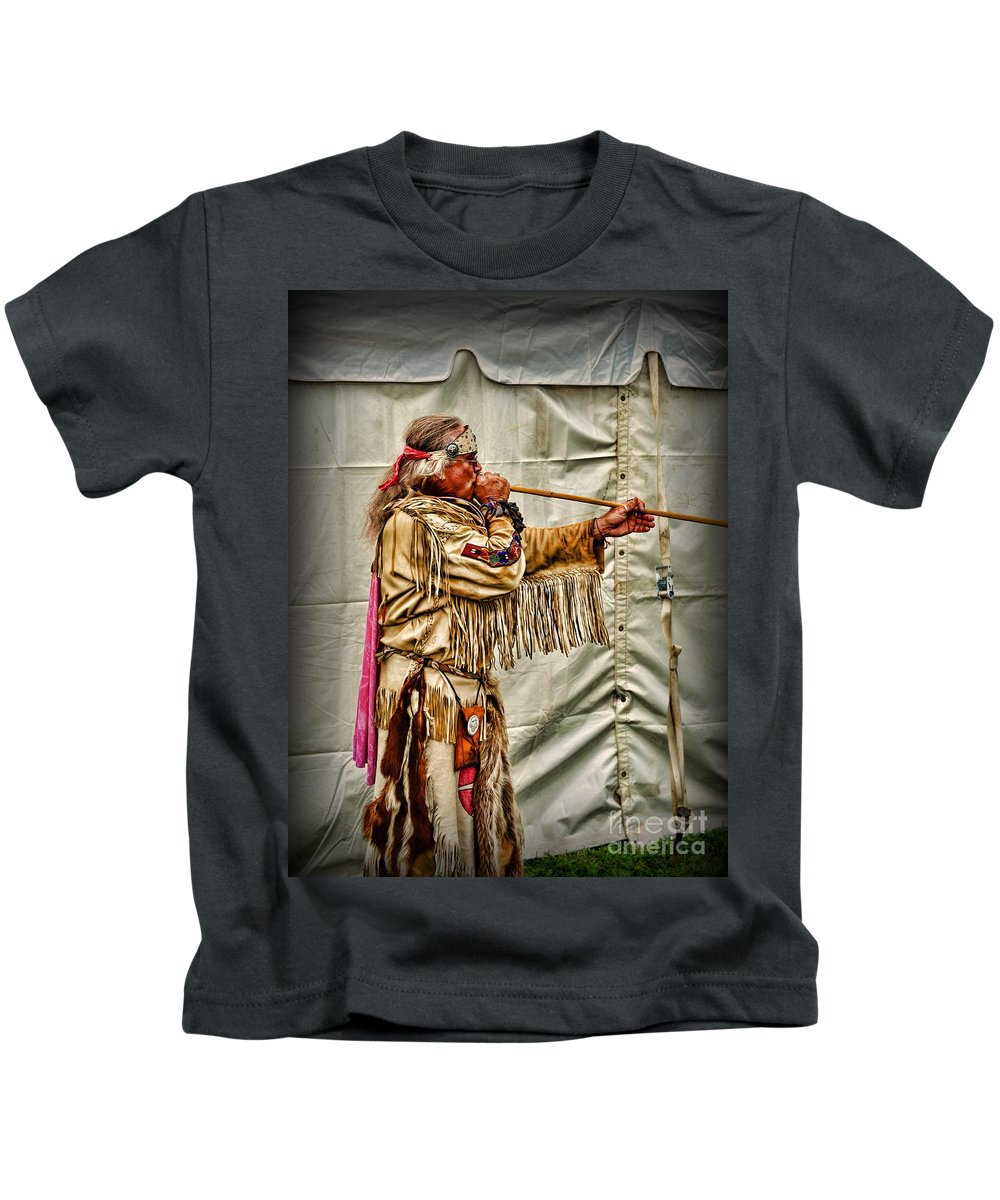 Paul Ward Kids T-Shirt featuring the photograph Native American With Blowgun by Paul Ward