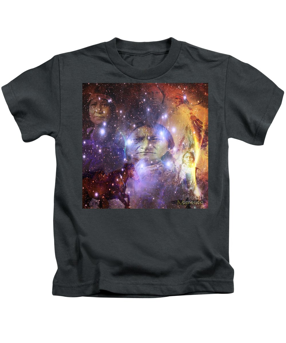 Mynzah Pleiadian Raven Starseeder Sitting Bull Mourning Dove Lakota Native American Horses Galaxy Universe Oneness Kids T-Shirt featuring the digital art Native One by Mynzah Osiris