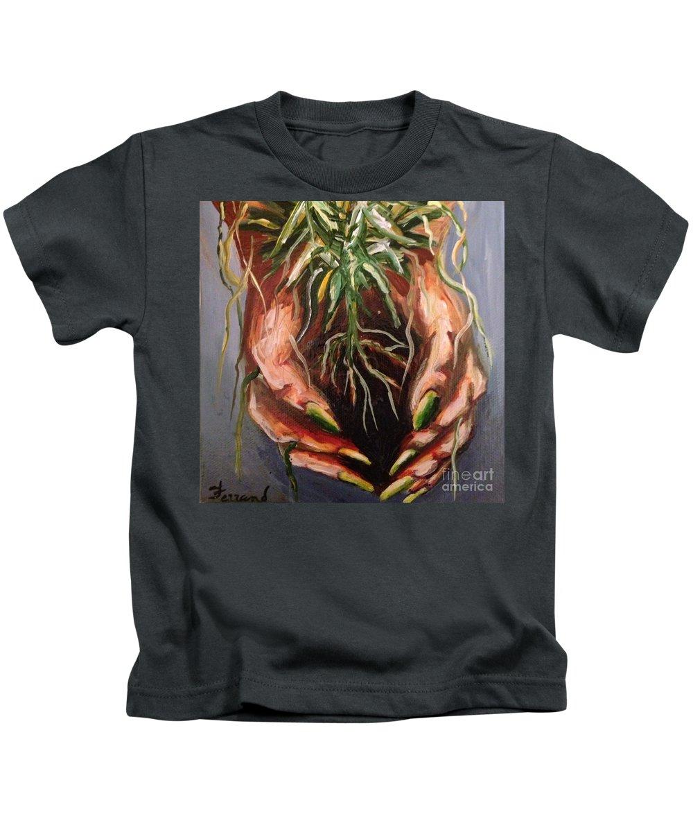 Green Kids T-Shirt featuring the painting Natures Hands by Karen Ferrand Carroll