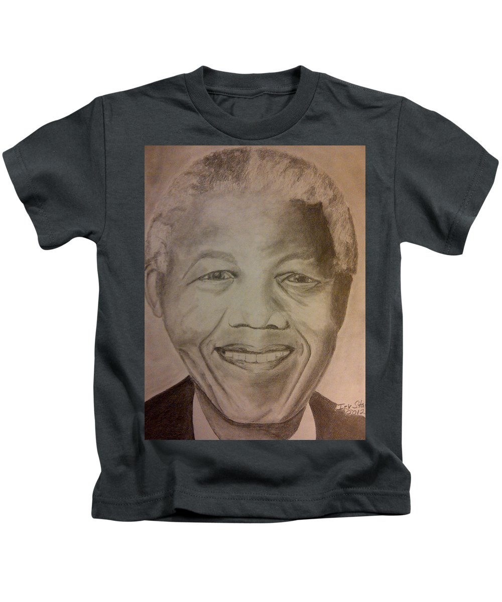 President Of South Africa Kids T-Shirt featuring the painting Nelson Mandela by Irving Starr