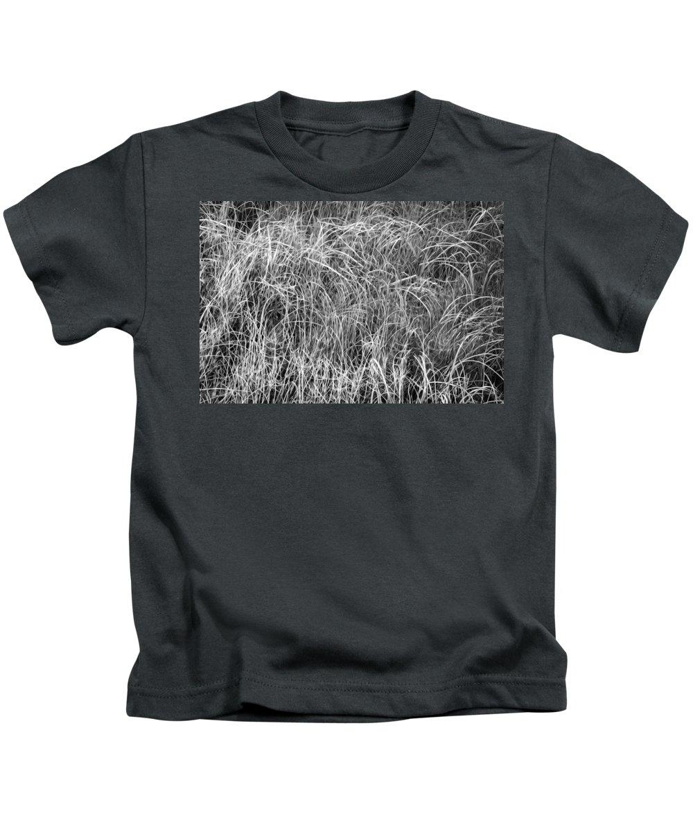 Glacier National Park Kids T-Shirt featuring the photograph New Grasses Glacier National Park Bw by Rich Franco