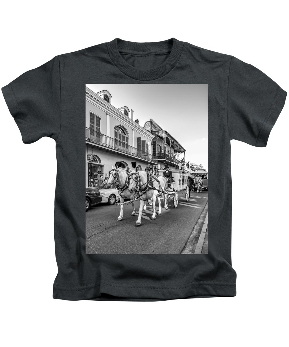 French Quarter Kids T-Shirt featuring the photograph New Orleans Funeral Monochrome by Steve Harrington