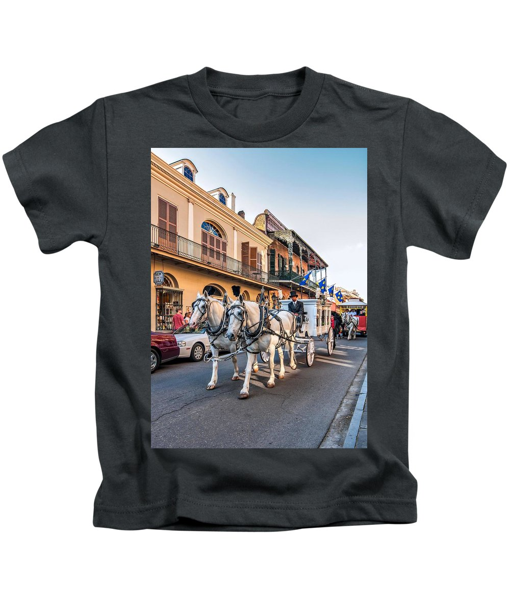 French Quarter Kids T-Shirt featuring the photograph New Orleans Funeral by Steve Harrington