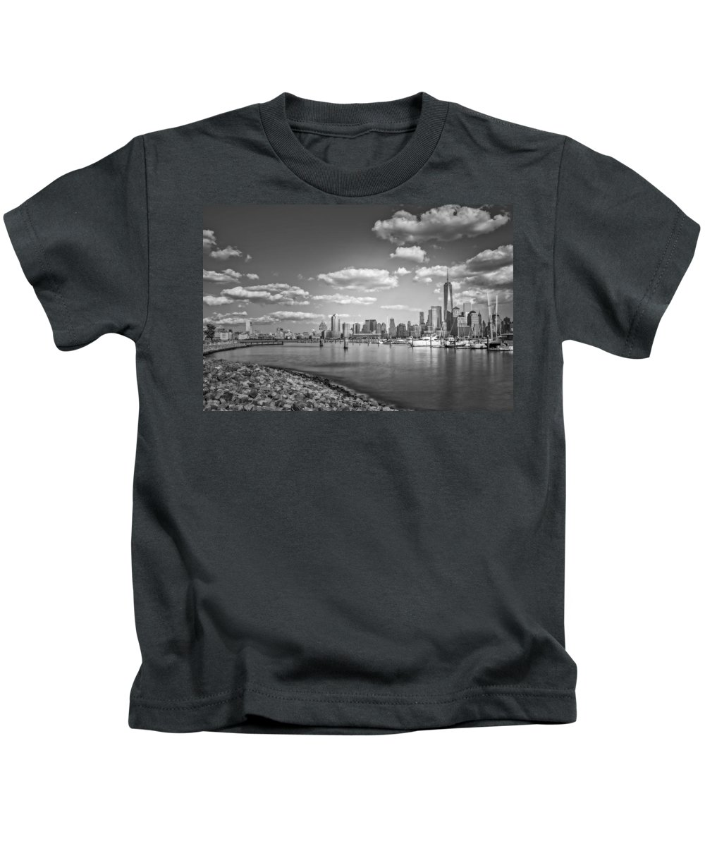 One World Trade Center Kids T-Shirt featuring the photograph New World Trade Center Bw by Susan Candelario