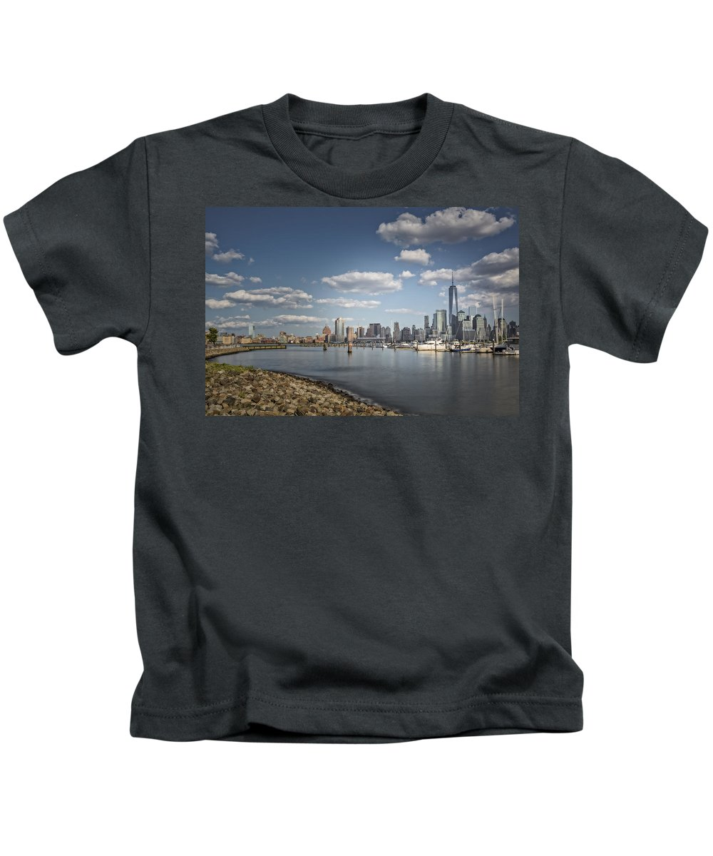 One World Trade Center Kids T-Shirt featuring the photograph New World Trade Center by Susan Candelario