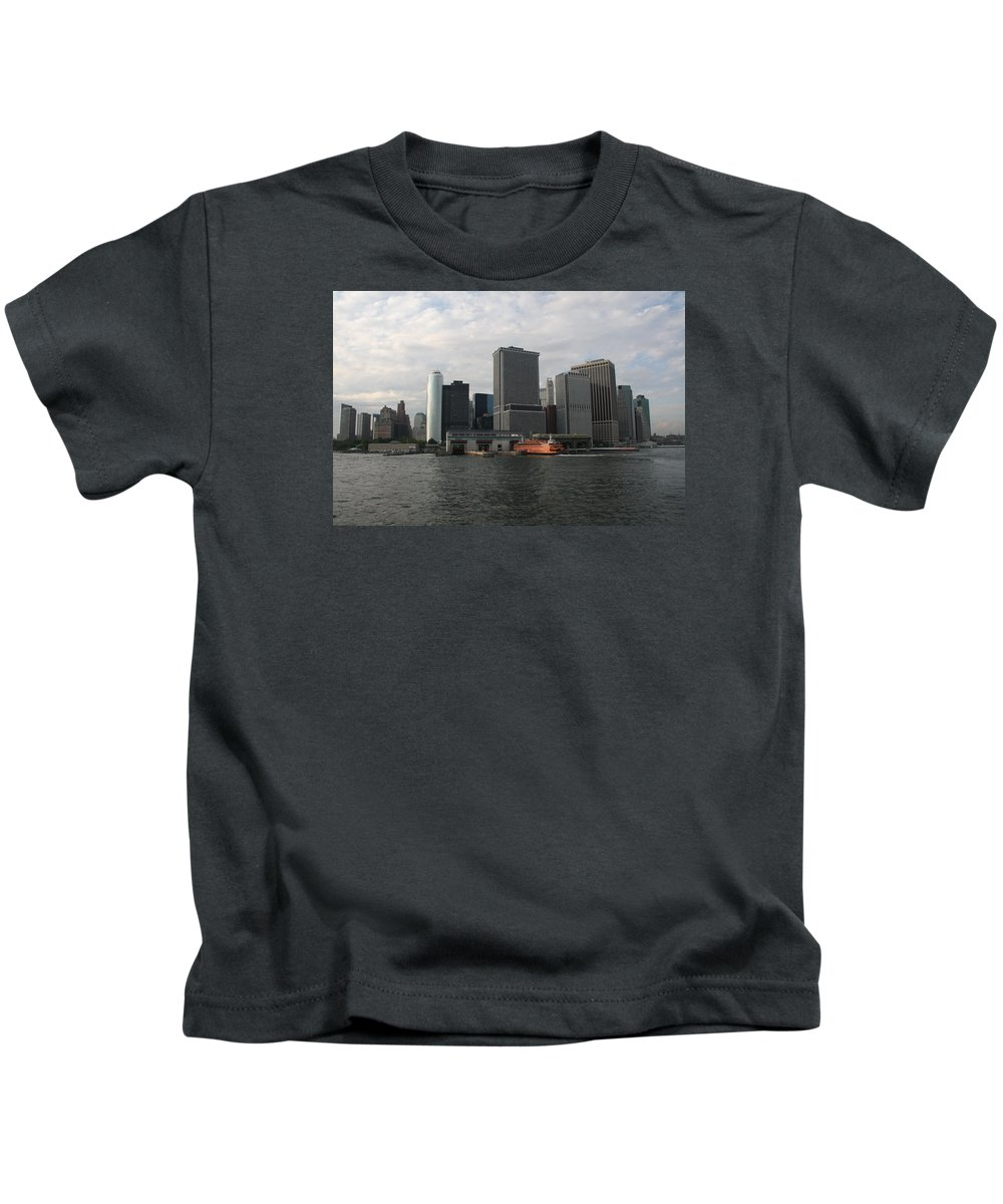 New York Kids T-Shirt featuring the photograph New York And Staaten Island Ferry by Christiane Schulze Art And Photography