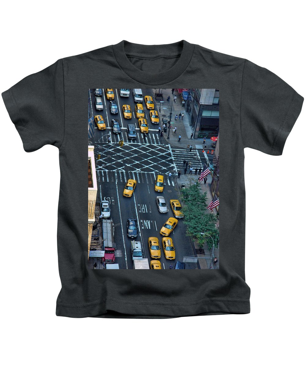 American Flag Kids T-Shirt featuring the photograph New York Taxi Rush Hour by New York