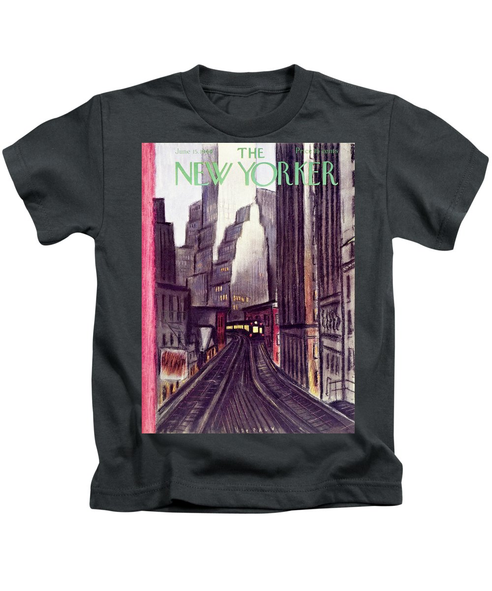 Illustration Kids T-Shirt featuring the painting New Yorker June 15 1940 by Victor De Pauw