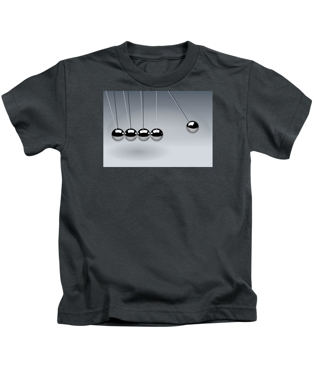 Newtons-cradle Kids T-Shirt featuring the photograph Newtons Cradle by FL collection