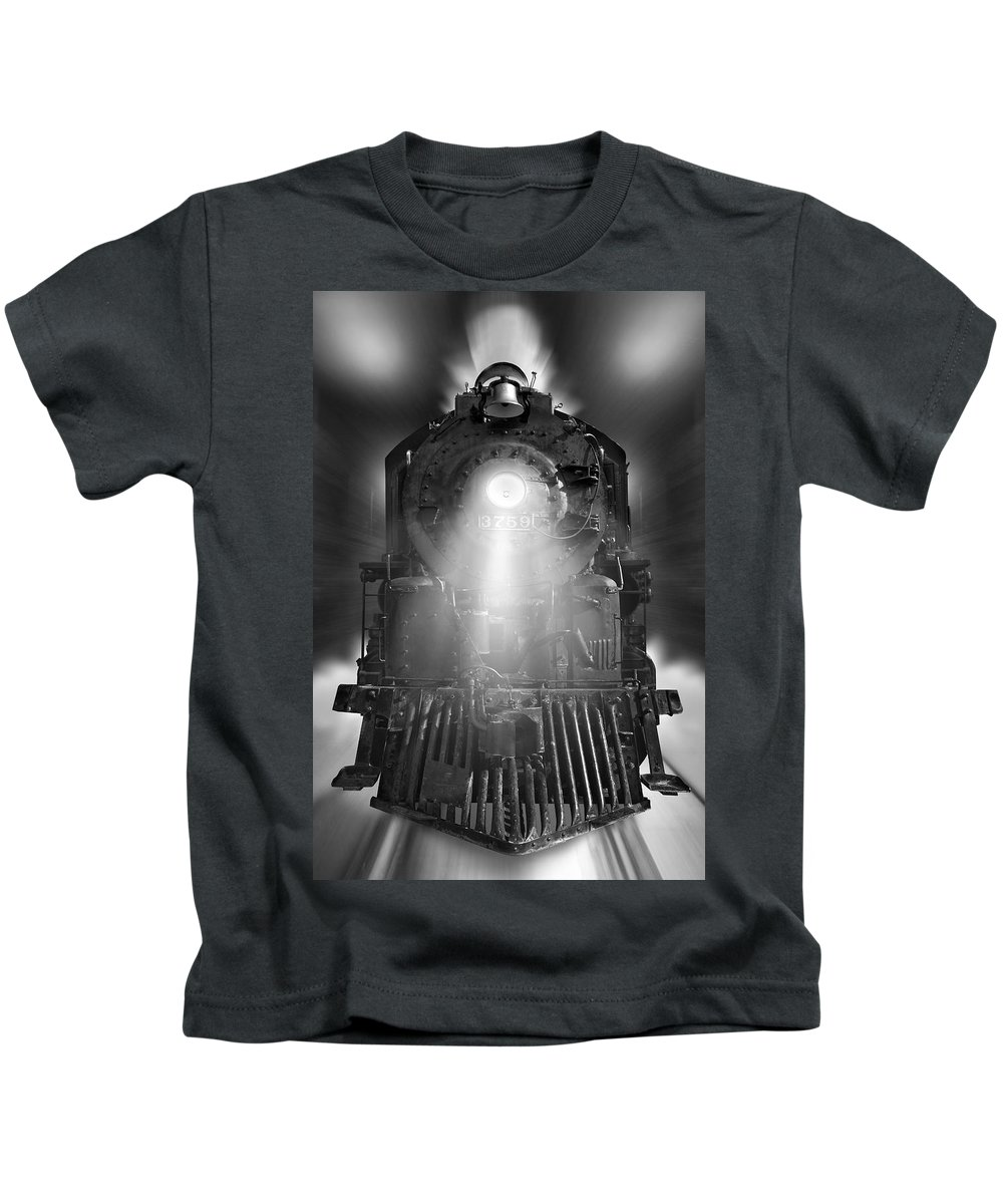 Transportation Kids T-Shirt featuring the photograph Night Train On The Move by Mike McGlothlen