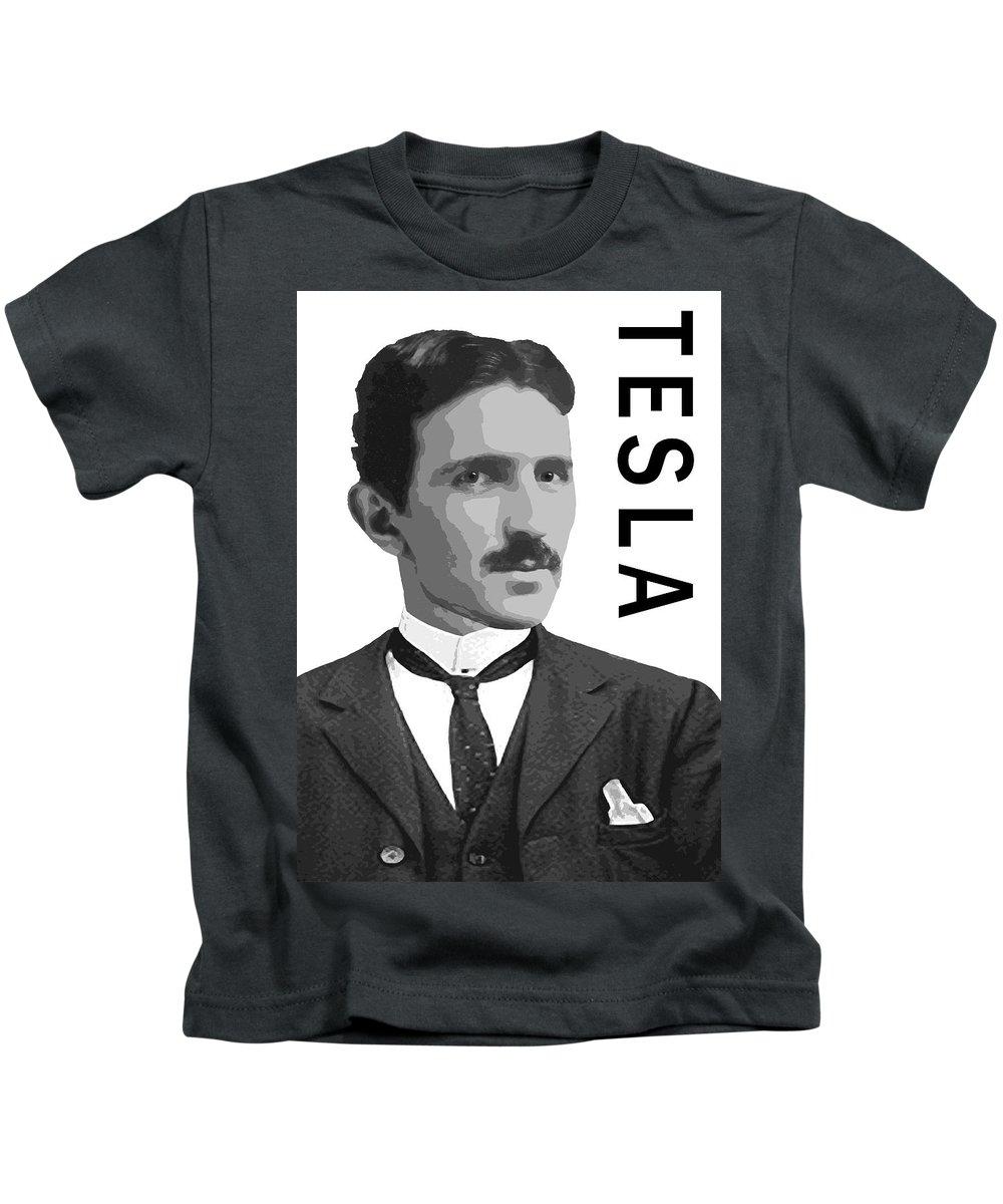Tesla Kids T-Shirt featuring the digital art Nikola Tesla 2 by Daniel Hagerman