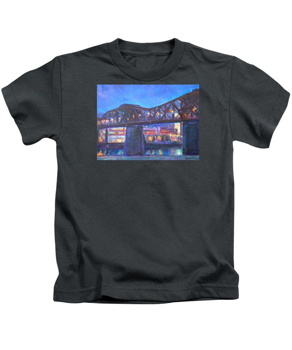 Sky Kids T-Shirt featuring the painting City At Night Downtown Evening Scene Original Contemporary Painting For Sale by Quin Sweetman