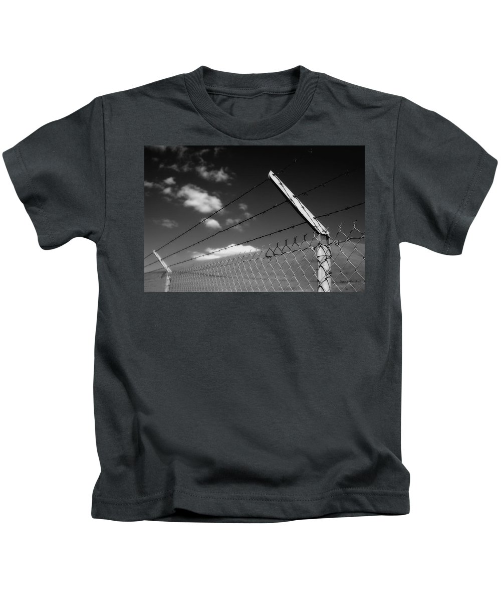 Black And White Kids T-Shirt featuring the photograph No Future Here by Donna Blackhall