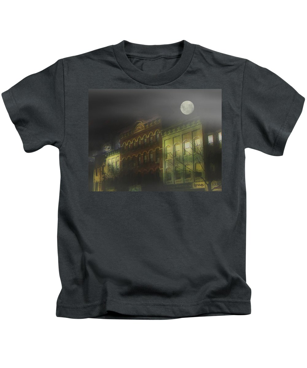 Cityscape Kids T-Shirt featuring the painting Northampton By Moonlight by RC deWinter