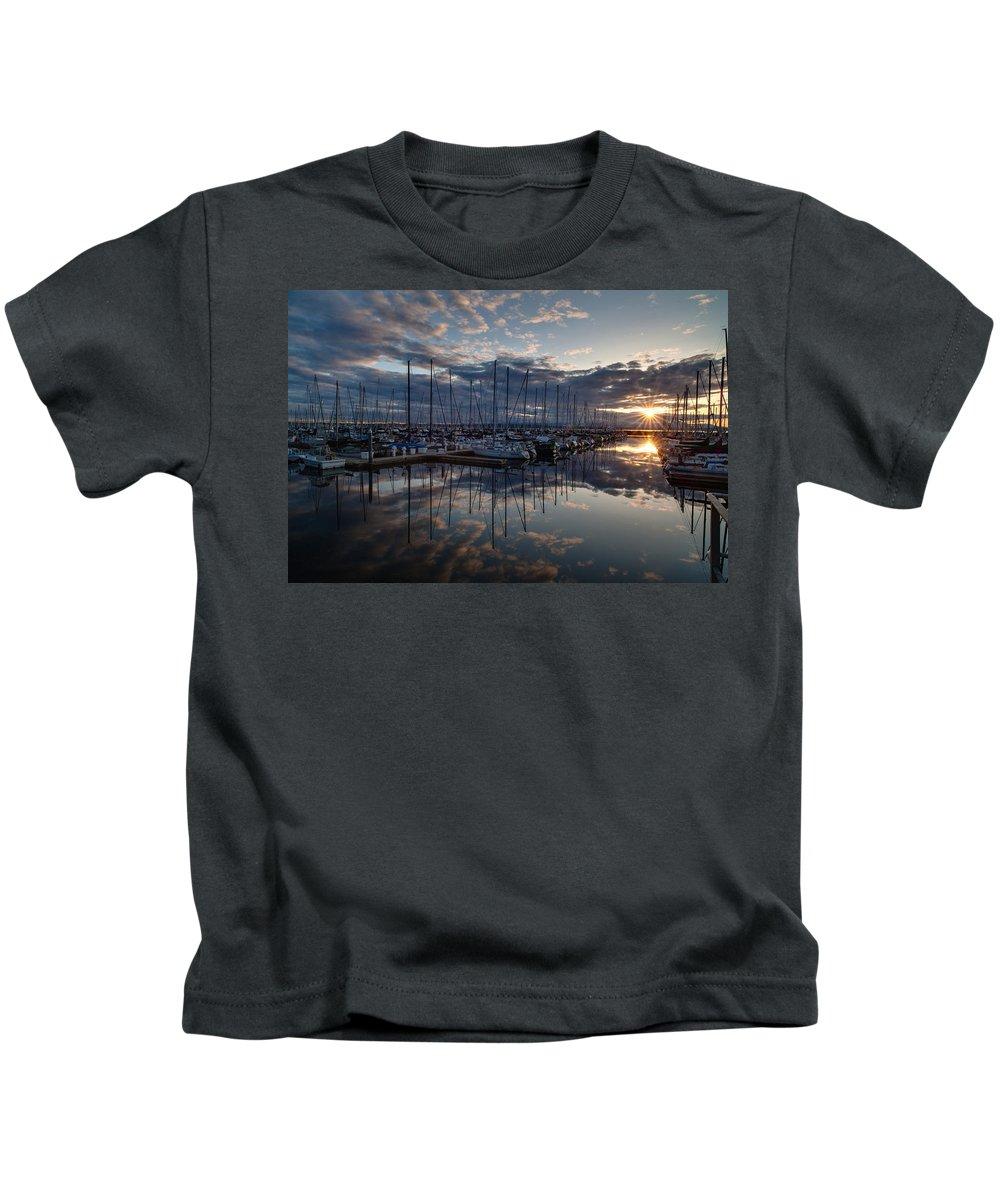 Shilshole Kids T-Shirt featuring the photograph Northwest Marina Sunset Sunstar by Mike Reid