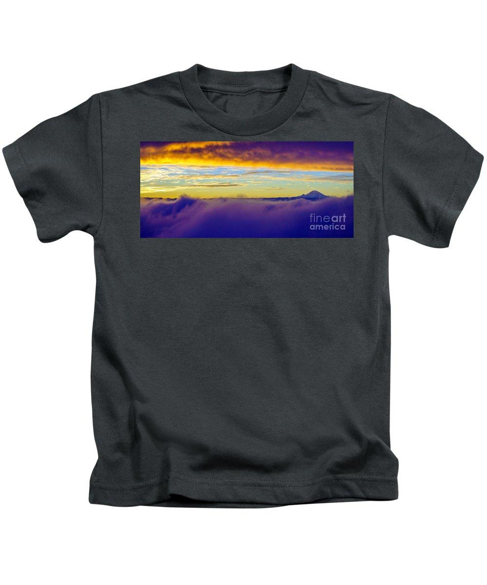 Rainier Kids T-Shirt featuring the photograph Northwest Sunrise Cloudscape by Mike Reid
