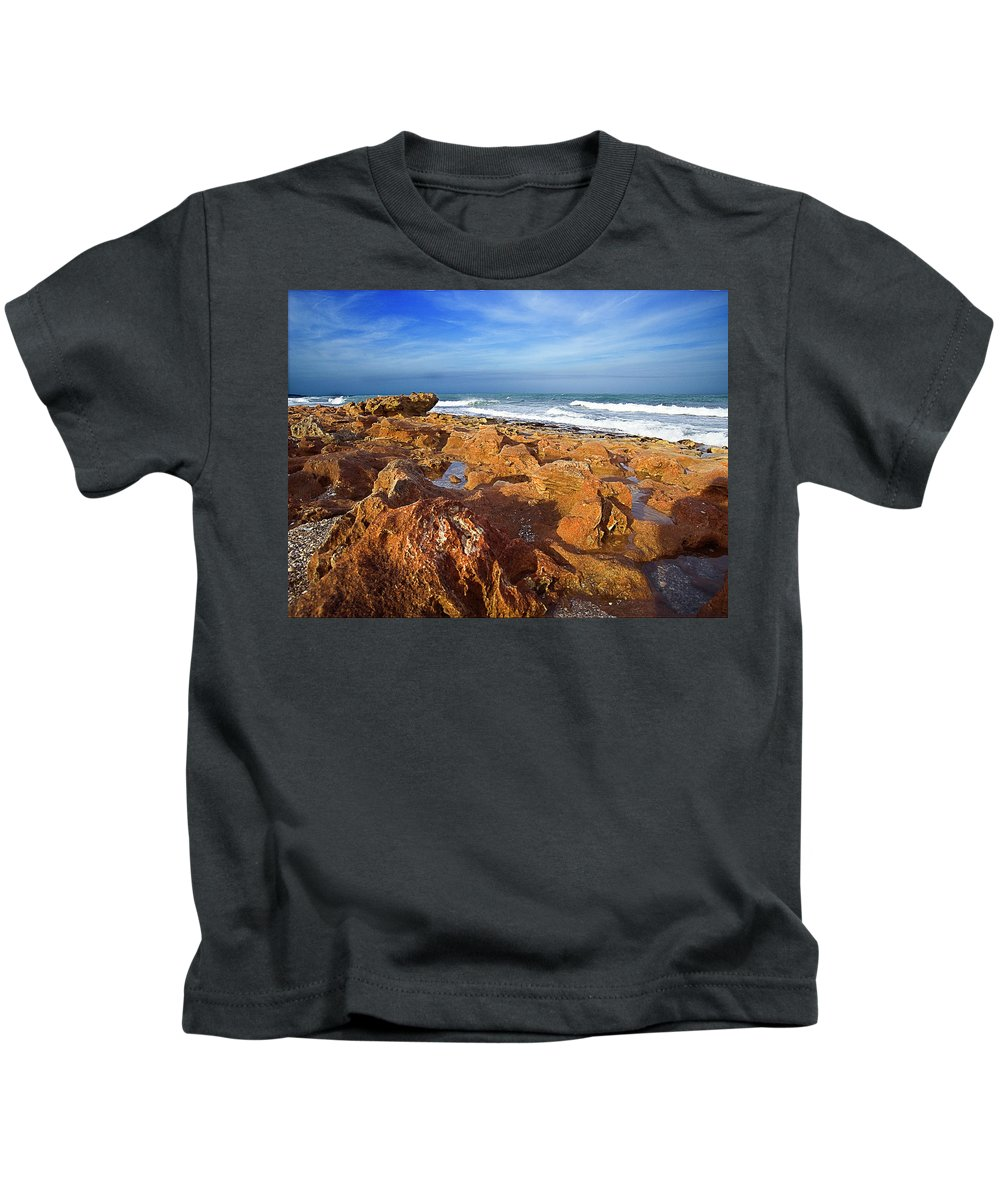 Rocks Kids T-Shirt featuring the photograph Ocean View by Bruce Bain