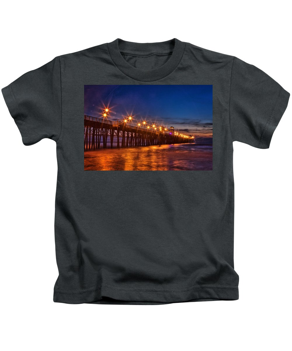 Carlsbad Kids T-Shirt featuring the photograph Oceanside Pier Evening by Diana Powell