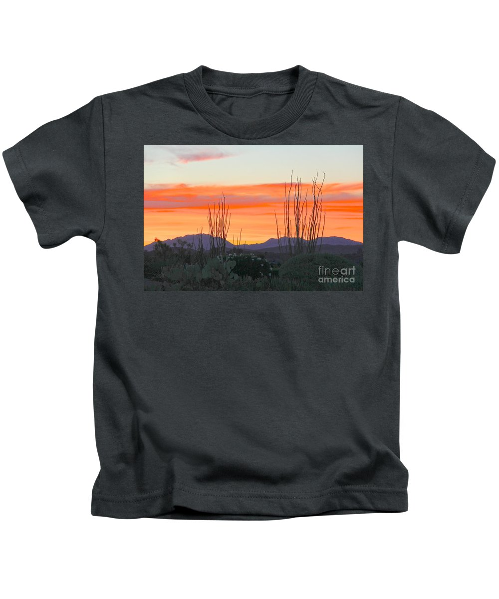 Desert Skies Kids T-Shirt featuring the photograph Ocotillo Sunset by Suzanne Oesterling