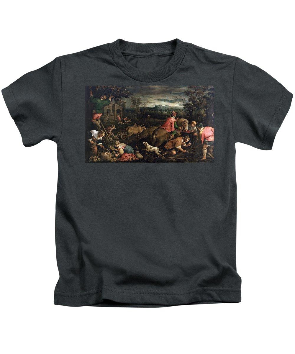Francesco Bassano Kids T-Shirt featuring the painting October. Scorpio by Francesco Bassano