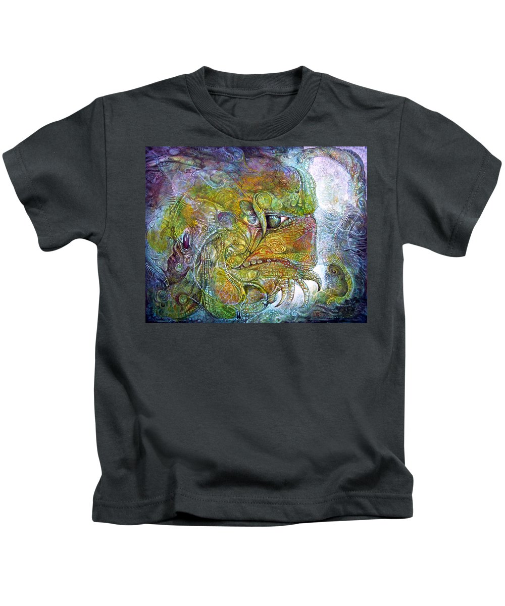 Tiamat Kids T-Shirt featuring the painting Offspring Of Tiamat - The Fomorii Union by Otto Rapp