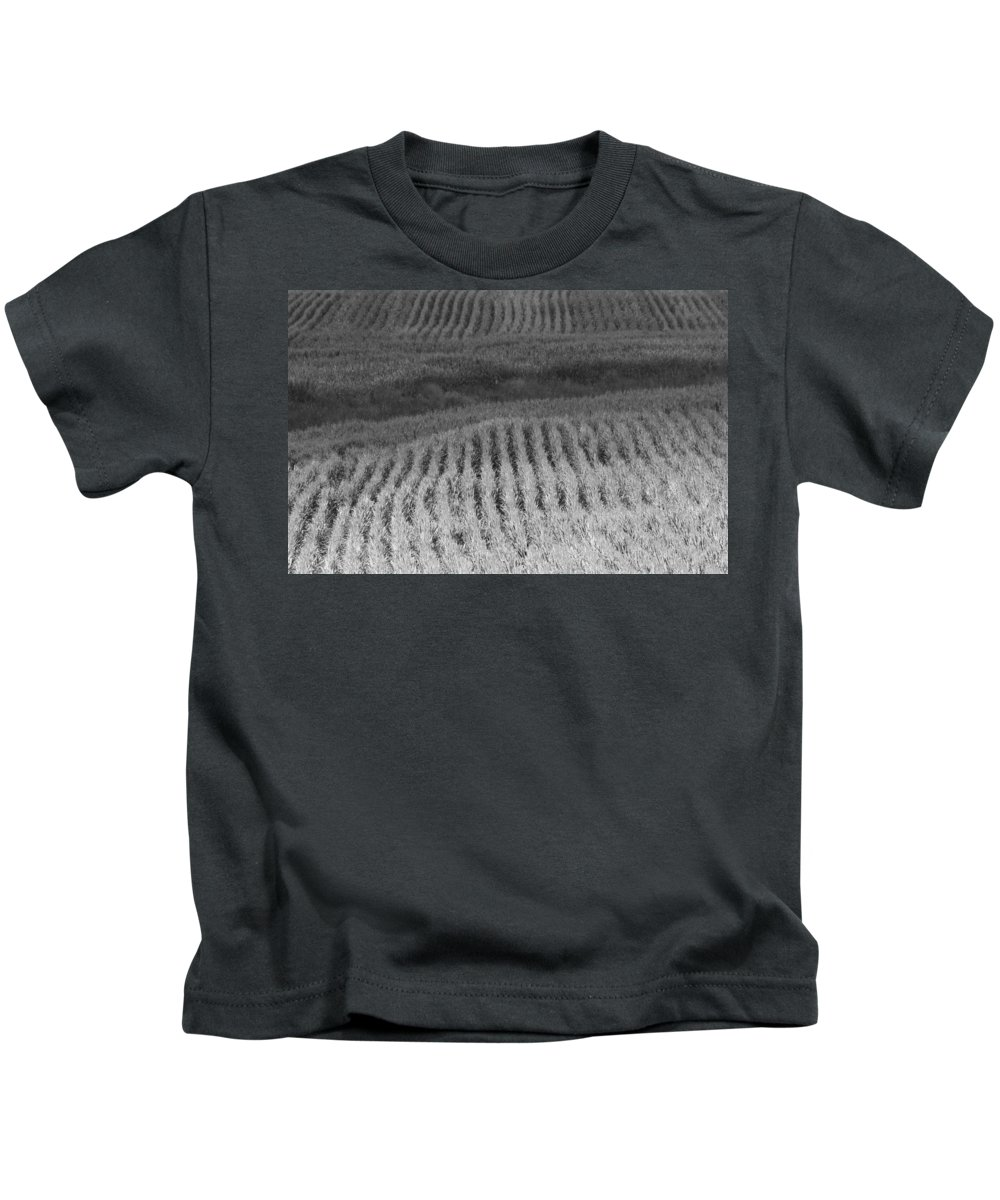 Black And White Cornfield Kids T-Shirt featuring the photograph Ohio Cornfield by Dan Sproul