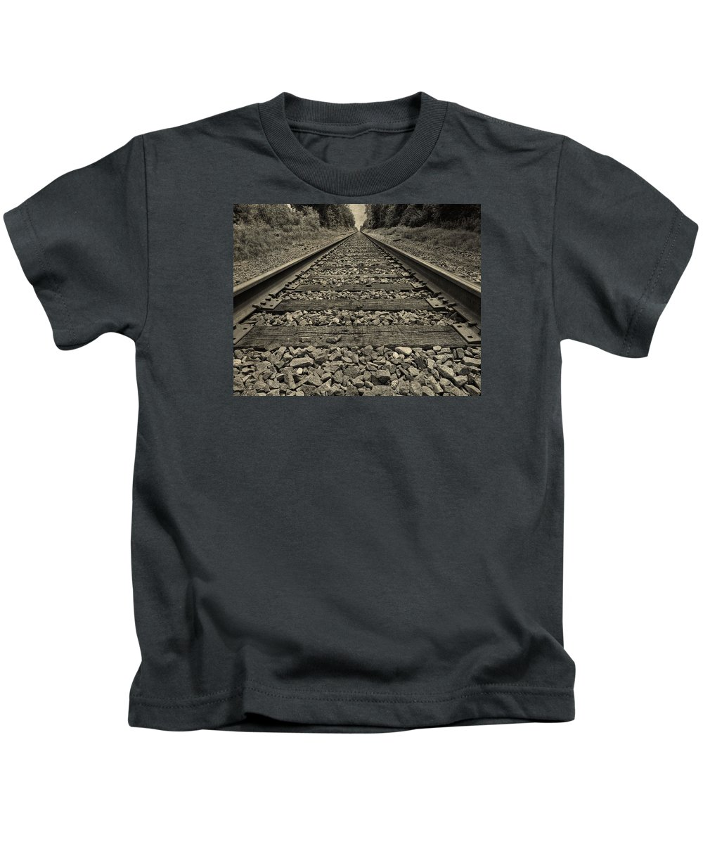 Vintage Train Tracks Kids T-Shirt featuring the photograph Ohio Train Tracks by Dan Sproul