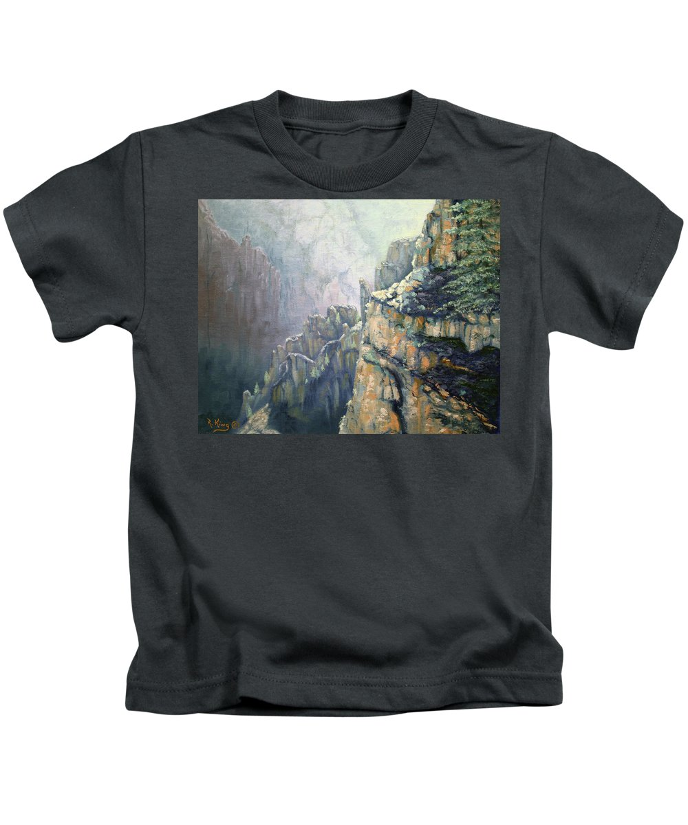 Roena King Kids T-Shirt featuring the painting Oil Painting - Majestic Canyon by Roena King
