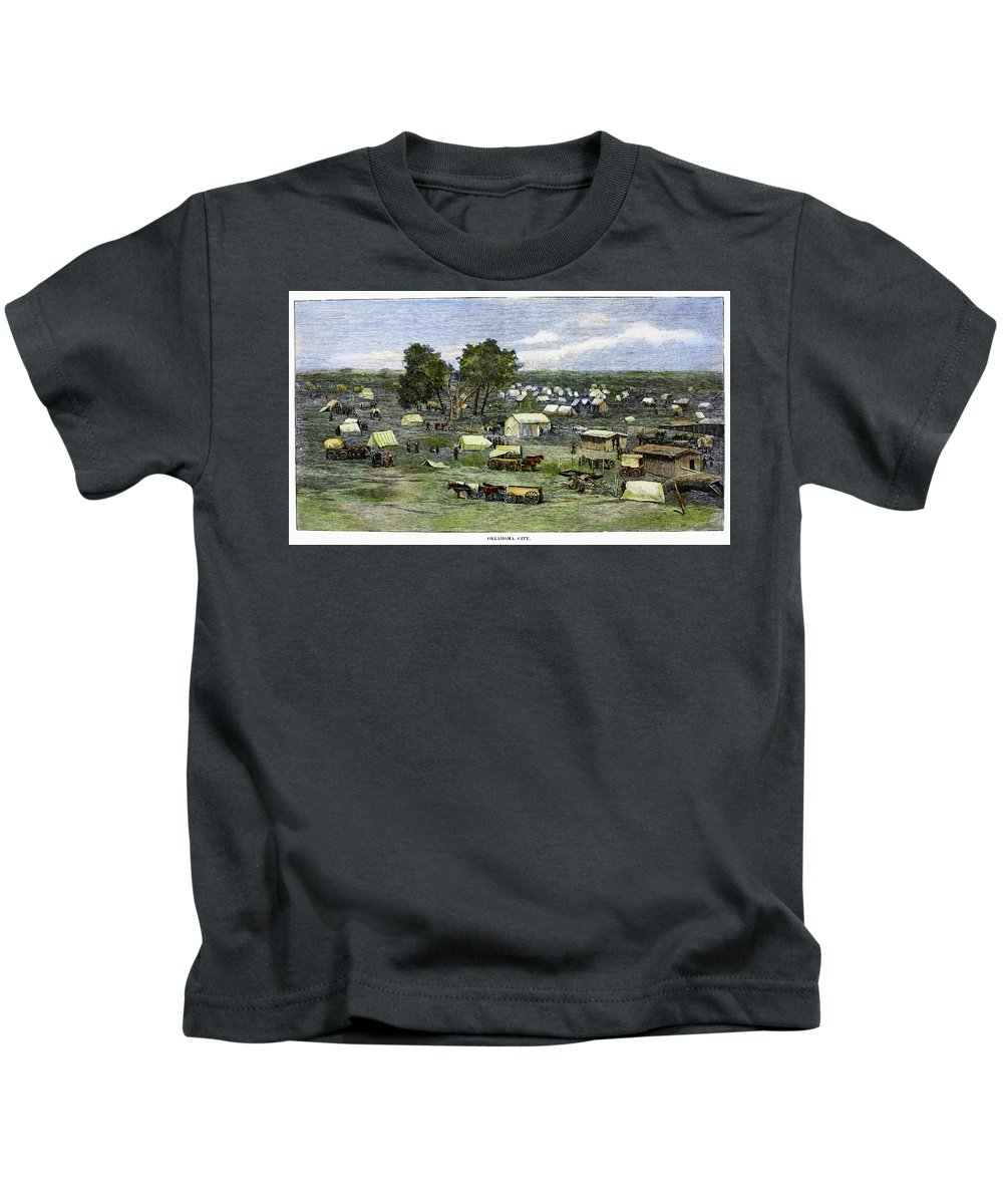 1889 Kids T-Shirt featuring the painting Oklahoma City, 1889 by Granger