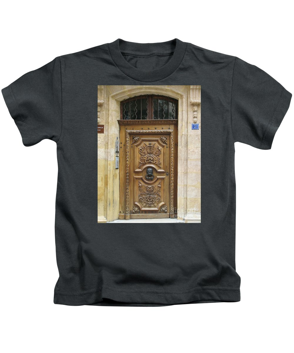 Door Kids T-Shirt featuring the photograph Old Carved Door by Christiane Schulze Art And Photography