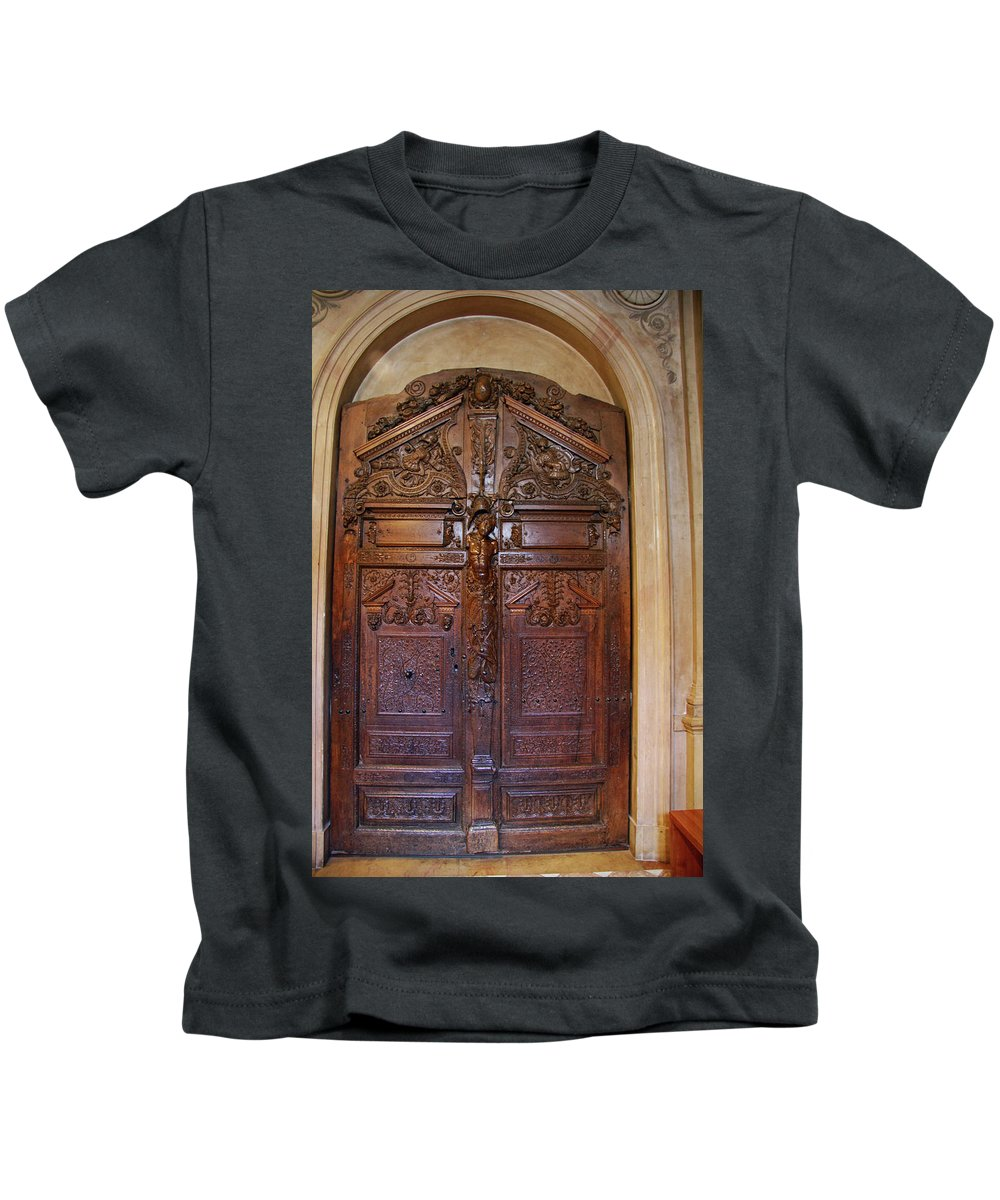 Door Kids T-Shirt featuring the photograph Old Ornamented Door by Christiane Schulze Art And Photography
