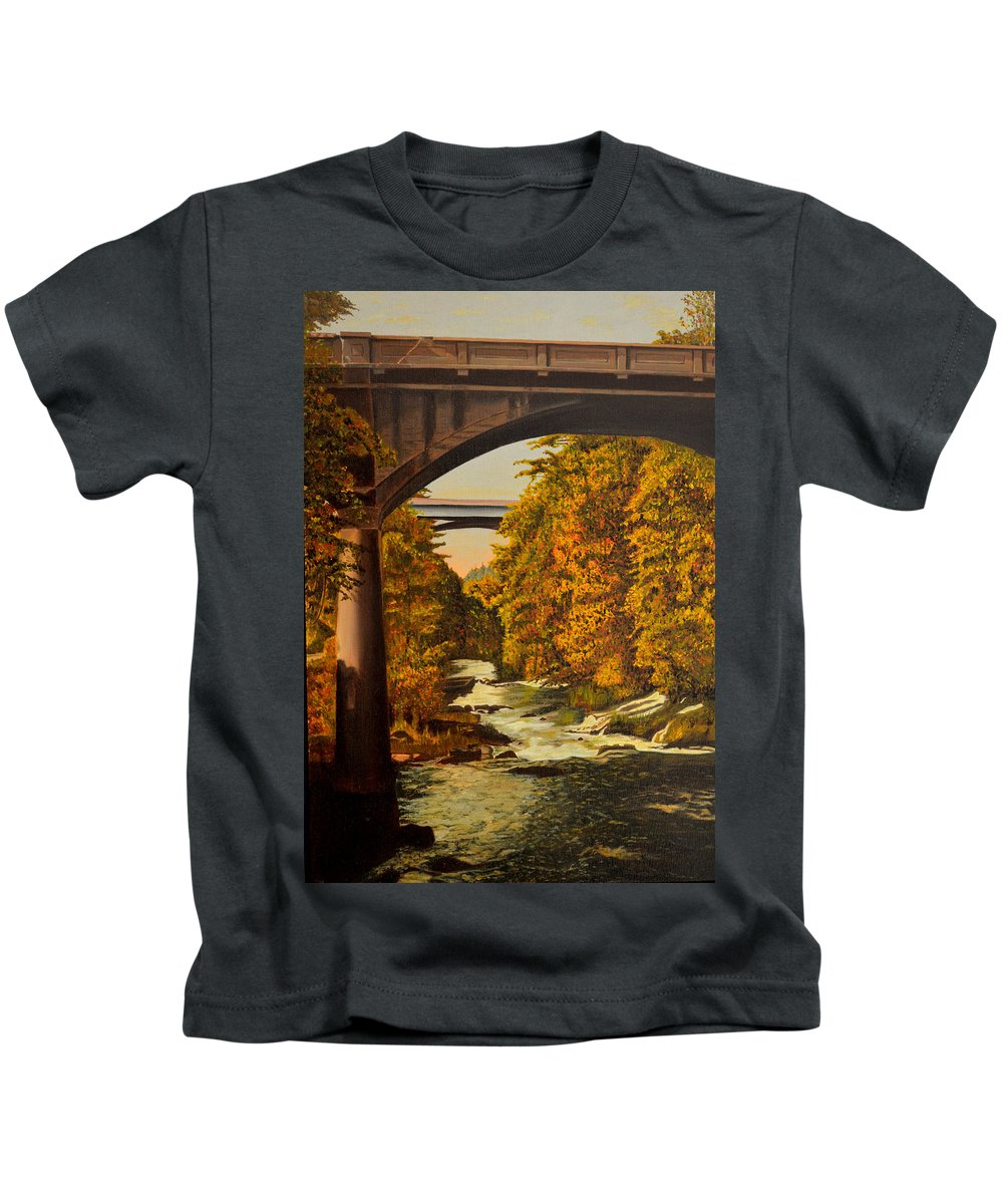 Bridge Kids T-Shirt featuring the painting Olympia by Thu Nguyen