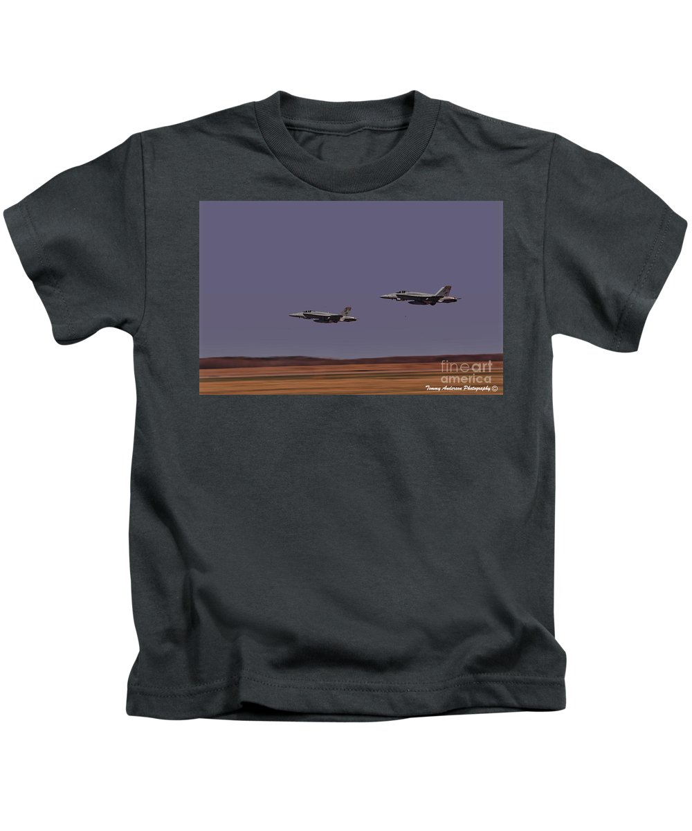 Usmc Kids T-Shirt featuring the photograph On The Deck by Tommy Anderson
