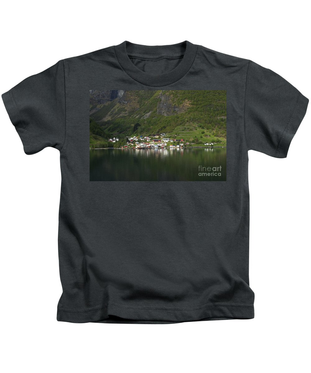 On The Edge Of The Fjord Kids T-Shirt featuring the photograph On The Edge Of The Fjord by Anne Gilbert