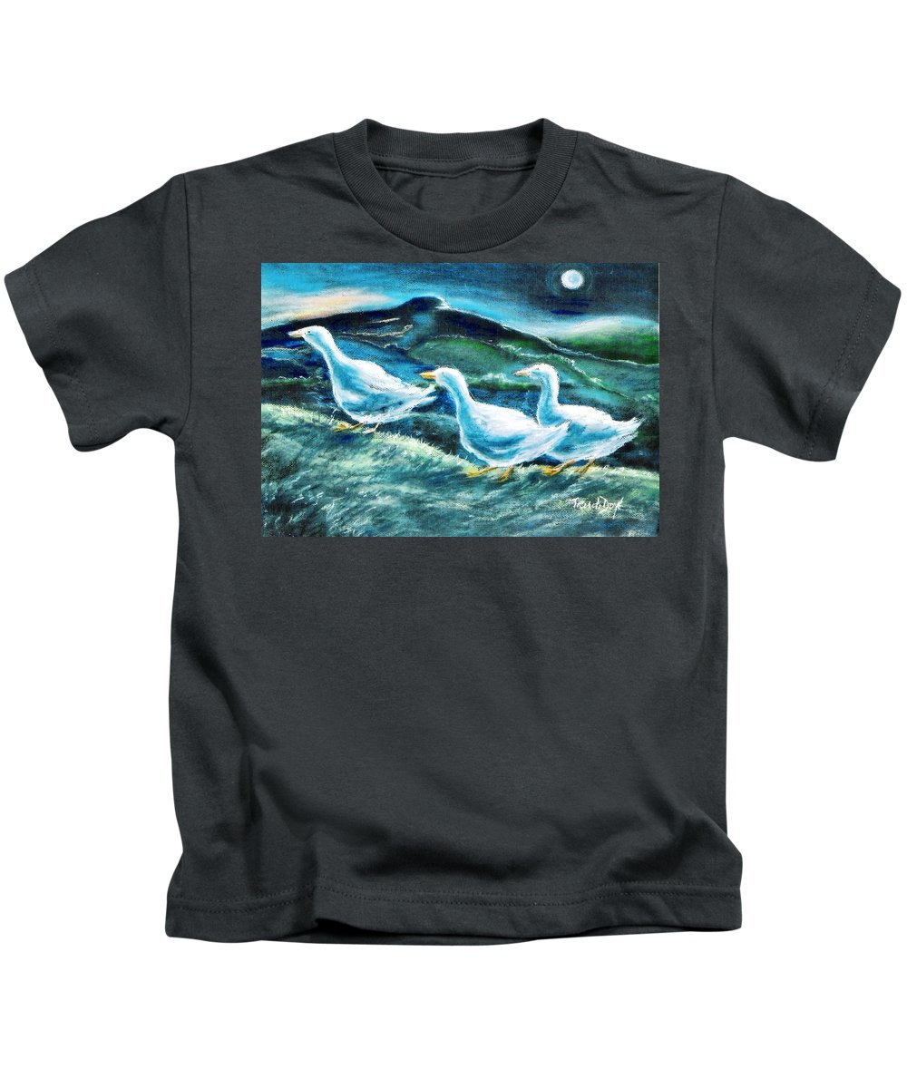 Pastel Painting Kids T-Shirt featuring the painting On The Run By Moonlight by Trudi Doyle