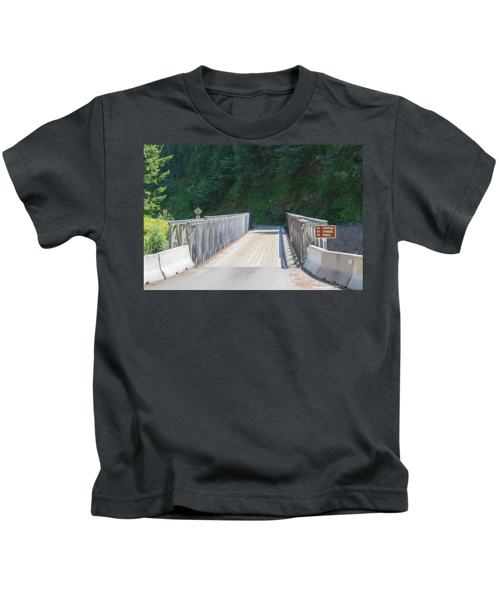 Bridge Kids T-Shirt featuring the photograph One Way Bridge by Tikvah's Hope